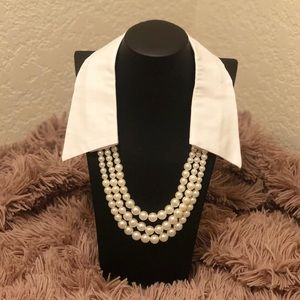BEX NYC White Countess Collar w/ Faux Pearls